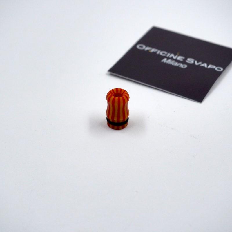 Drip Tip 510 Calipso in Galalite colore Senape/Rosso